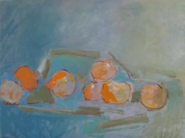 Fruits déguisés, huile sur toile 46x61
